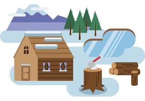 Log Cabin Snowy Landscape Vector