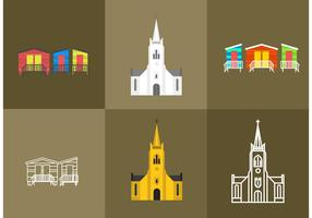Cape Town Churches and Beach House Vectors