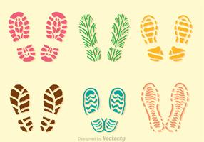 Colorful Muddy Footprint Icons