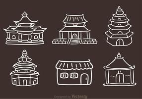 Chinese Temple Hand Drawn Icons