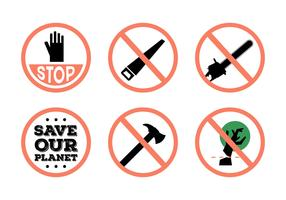 Stop Deforestation Vector Signs
