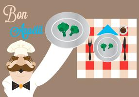 Vector Illustration of a Chef with Broccoli