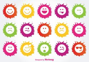Farbe Splatter Emoticon Icon Set