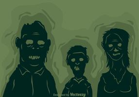 Vector Zombie Family Silhouette