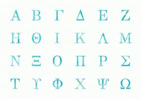 Free Greek Watercolor Alphabet Uppercase Vector