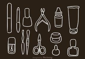 Hand Drawn Manicure Pedicure Vector Icons