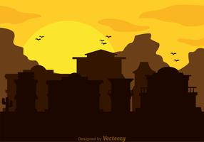 Old Western Town Silhouette Vector