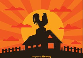 Rooster On Farm Silhouette