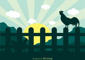 Hen and Rooster Silhouette Background