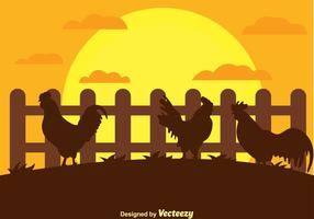 Rooster Silhouette on a Farm Vector