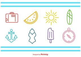 Summer Time Line Icons