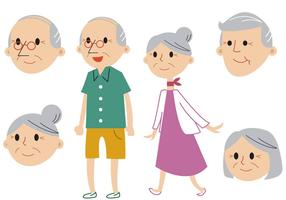 Senior Couple Vector Set