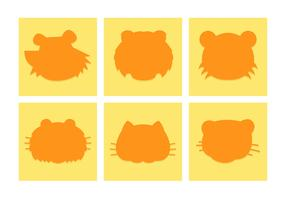 Cartoon Tigers Heads Silhouettes