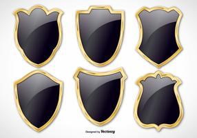 Black and Gold Vector Shield Set