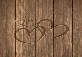 Free Heart Carved In Wood Vector Background