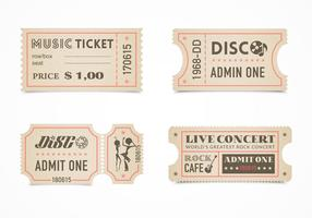 Free Retro Concert Ticket Stub Vector Set