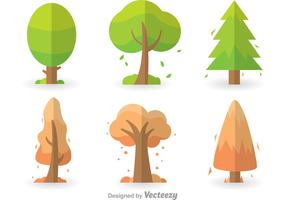 Colorful Tree Icons Set