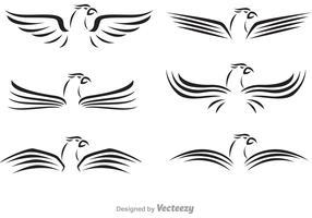 Logotipo negro del halcón del ala
