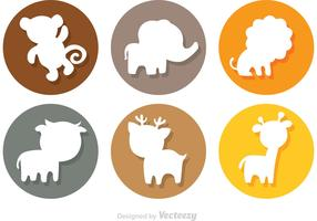 Animal Cartoon Silhouette Circle Icons
