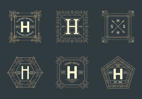 Free Retro Square Hotel Logos Vector