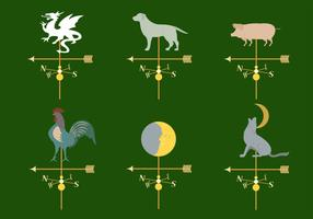 Set of Different Weather Vanes in Vector