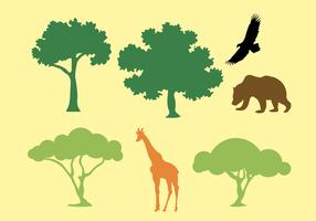 Vector Silhouette of Trees and Animals