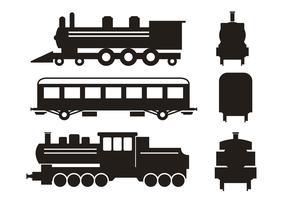 Train Silhouette Vector Set