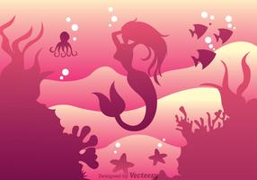 Mermaid Swimming Vector