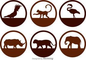 Ícones da silhueta dos animais selvagens