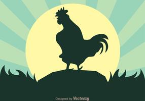 Vector Rooster Crows
