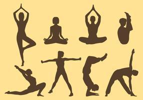 Frau und Mann Yoga Silhouetten