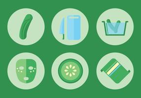 Cucumber Facial Vector Icon Set