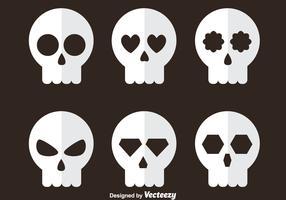 White Skull Flat Icons