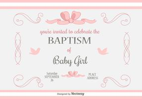 Baby Girl Baptism Vector Invitation