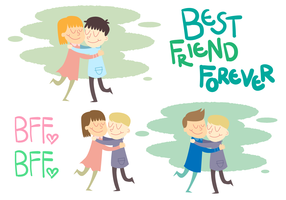Friends Hugging Vector Set