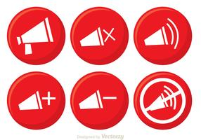Red Speaker Button Vectors