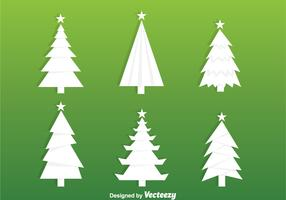 White Christmas Tree Silhouette Vectors