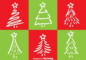 White Line Christmas Tree Vectors