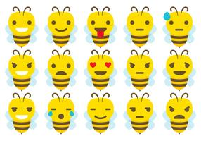 Cute Bee Emoticon Vectors