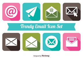 Trendy long Shadow Style Email Icon Set