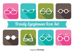 Trendy Long Shadow Style Sunglasses Icon Set
