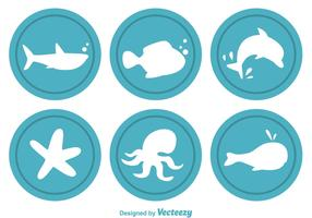 Circular Sealife Vector Icons