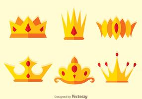 Crown Flat Logo Vectors