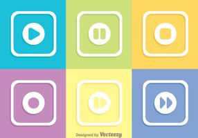 Colorful Square Media Buttons