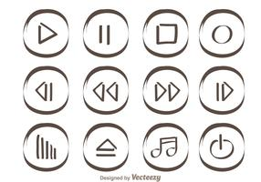 Hand Drawn Media Player Buttons