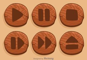 Wood Media Player Button