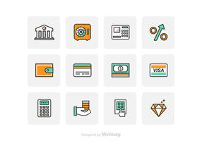 Free Flat Line Bank Icons