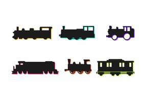 Set Of Cute Trains Vector Icons Silhouette
