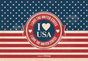 I Love the USA Vintage Style Illustration