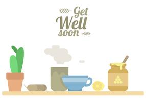 Get Well Soon Tea Vector